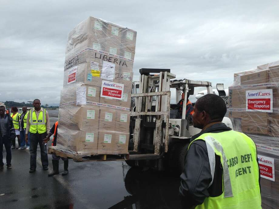 Cardinal Health products arrive in Liberia on Monday, Sept. 29.