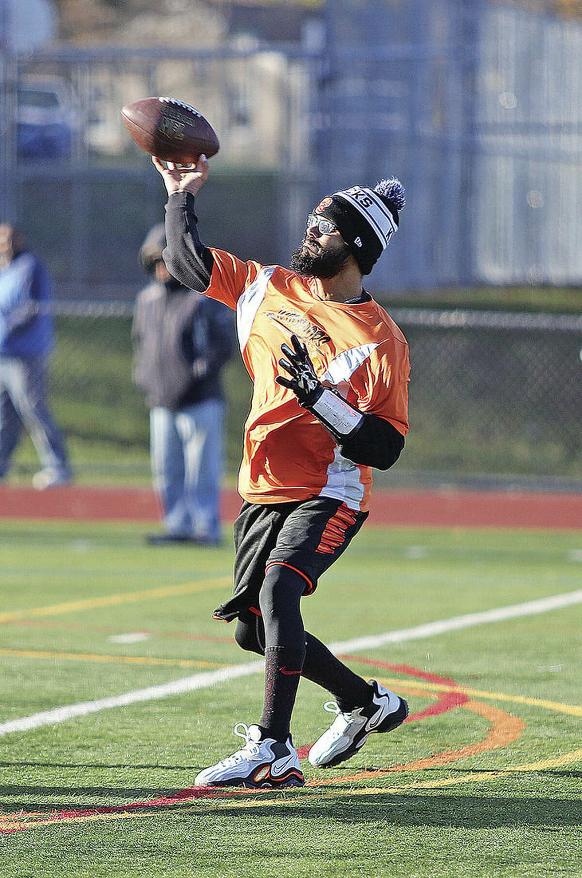Jose Gonzales from The Warriors makes a pass during the Norwalk Rec Championship Football game against M2 & Floody Landscaping at the Norwalk High School football field Sunday morning. Hour Photo / Danielle Calloway