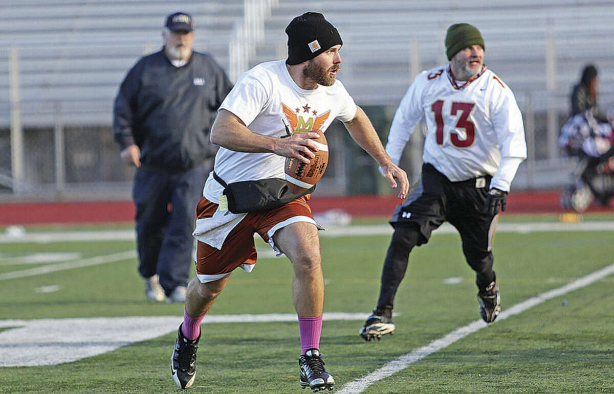 Hour photos/Danielle Calloway Top, Justin Floody from M2 & Floody Landscaping prepares to make a pass during the Jack Casagrande Adult Touch Football League championship game against the Warriors on Sunday morning at Testa Field in Norwalk. Bottom left, Brian Davis from M2 & Floody is congratulated after scoring a touchdown, while bottom right, Jose Gonzales from The Norwalk Smoke Shop Warriors makes a pass while his team was on offense.