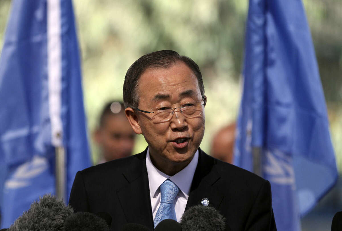 U.N. chief Ban Ki-moon speaks in Gaza, Tuesday, Oct. 14, 2014. Ban visited the Gaza Strip on Tuesday to give a push to international reconstruction efforts, saying the vast scenes of destruction wrought by the summer war were