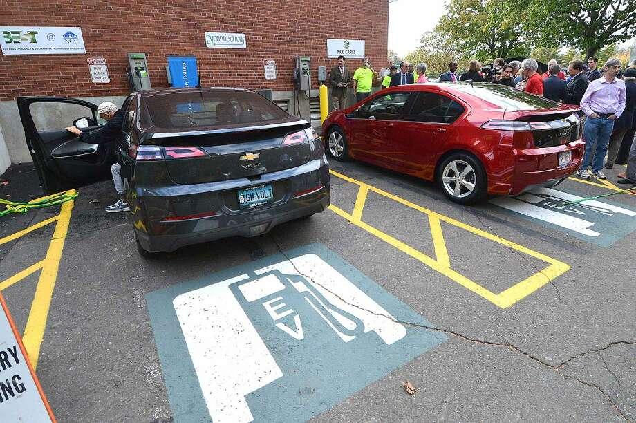 Hour Photo/Alex von Kleydorff Norwalk Community College opens its new Electric Vehicle Charging Station