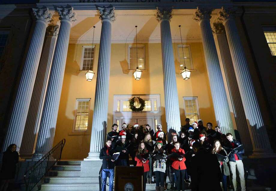 Hour Photo/Alex von Kleydorff Holiday songs on the steps of Town hall during the Town of Westport Christmas Tree Lighting