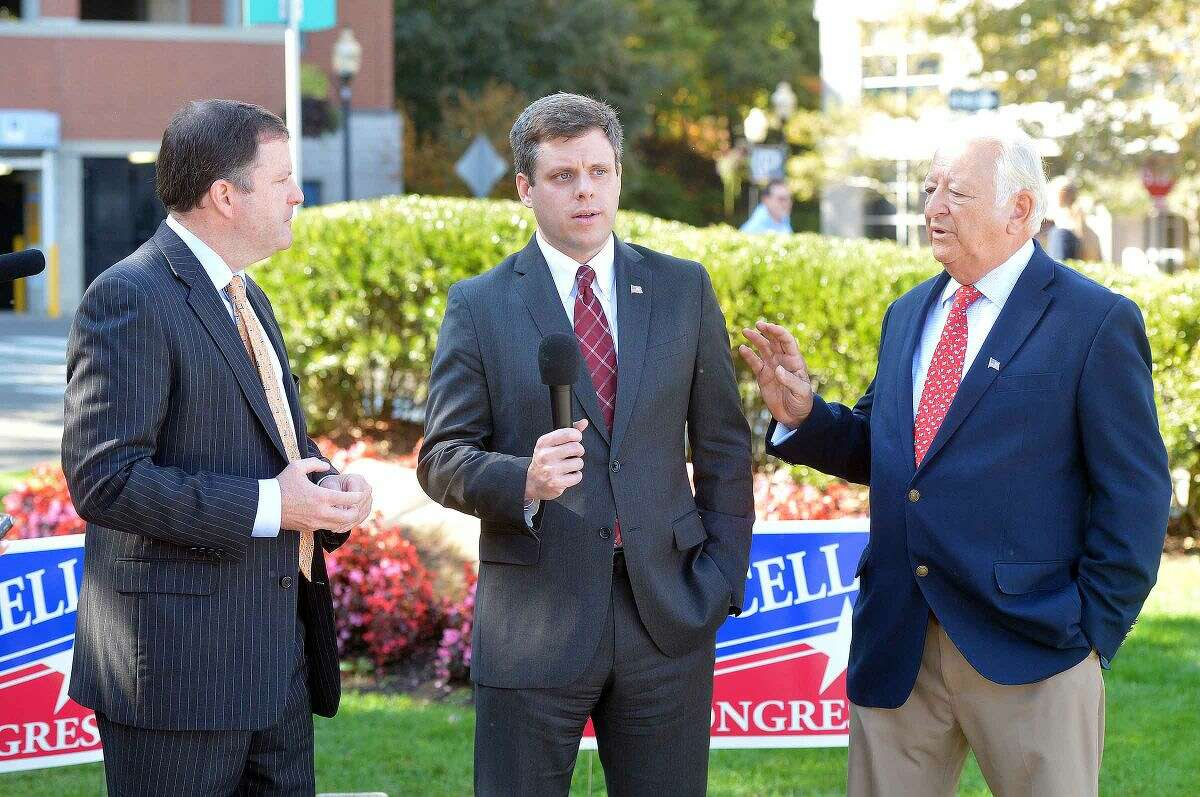 Hour Photo/Alex von Kleydorff Dan Debicella talks about his 'New strategy for Our Cities' with Richard Moccia and Republican State Senate Minority Leader John McKinney in SoNo on friday