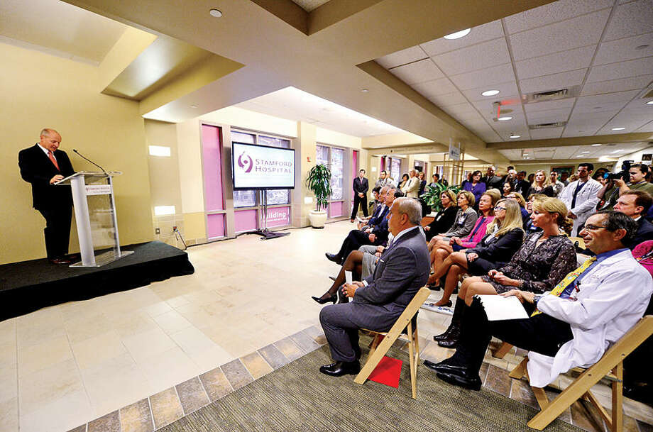 Stamford Hospital CEO and President Brian Grissler announces a $20 million gift from the Cohen Foundation Thursday morning at Stamford Hospital.