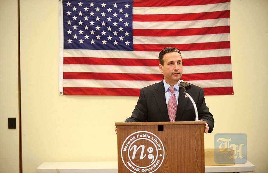 Hour photo / Erik TrautmannIn this file photo, State Senate Majority Leader, Bob Duff speaks during a Wartime Service Medal ceremony at the Norwalk Public Library Main Branch.