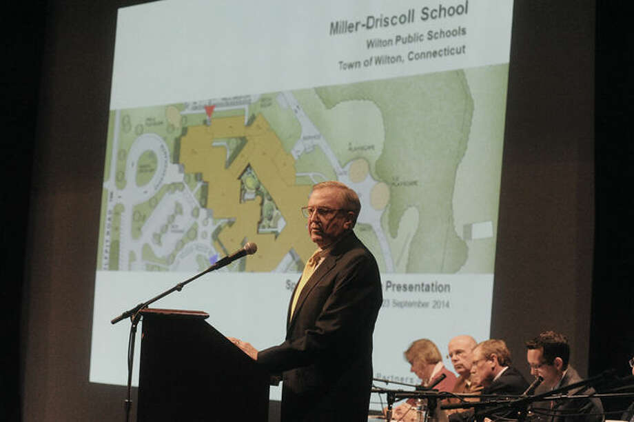 Wilton First Selectman Bill Brennan speaks Tuesday night at the Miller-Driscoll renovation project meeting at The Clune Center in Wilton.