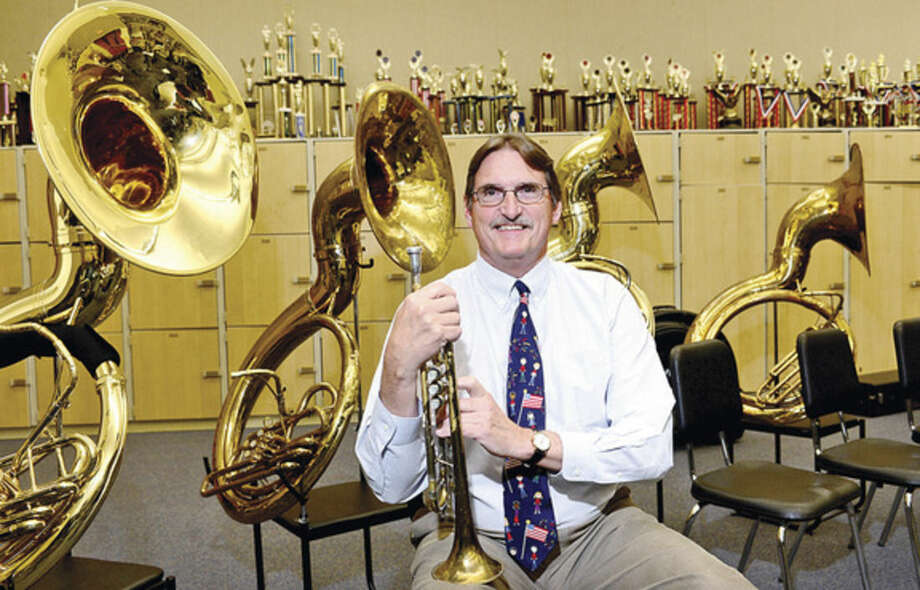 Hour photo/Erik TrautmannFrank Gawle, band director at Wilton High School, is one of 25 teachers nationally selected as a semifinalist for the Music Educator Award, presented by The Recording Academy and The Grammy Foundation.