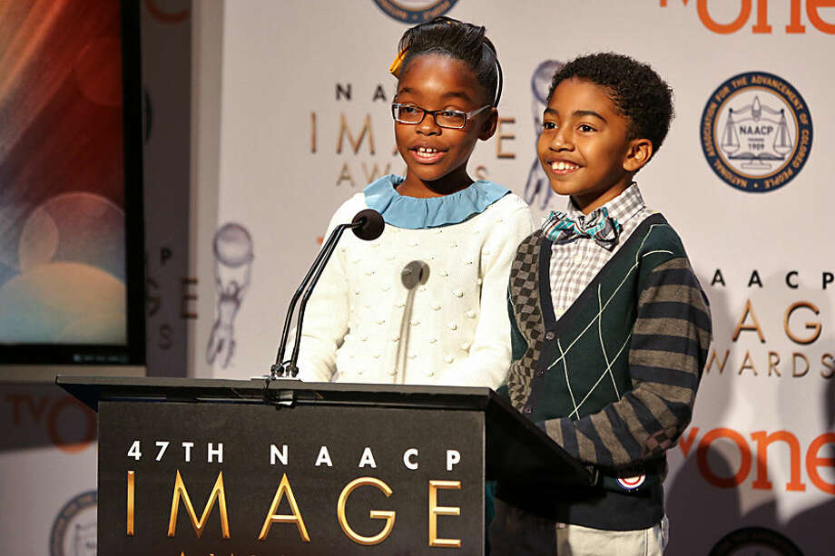 Marsai Martin, left, and Miles Brown speak at the 47th NAACP Image Awards Nomination Announcement and press conference at The Paley Center for Media on Tuesday, Dec. 8, 2015, in Beverly Hills, Calif. (Photo by Rich Fury/Invision/AP)