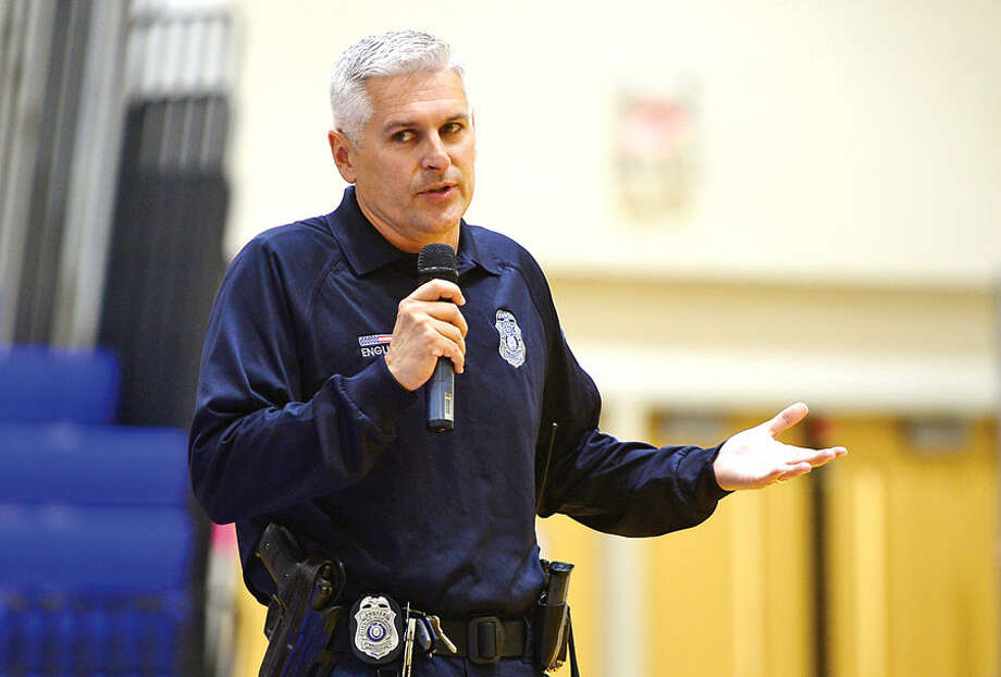 Hour photo / Erik Trautmann School resource officer Patrick English participates in a panel discussion as Brien McMahon High School celebrates their second annual Senators Don't Bully Day Wednesday. Students also attended small group sessions to discusss CT bullying laws, case studies and watch the movie Bully.