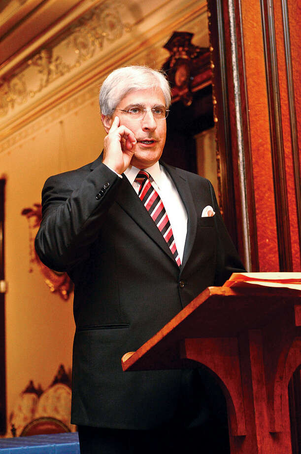 Hour photo / Erik Trautmann Keynote Speaker, author Steve Berry gives his address during the Lockwood Mathews Mansion Museum Gala, Mystery at Elm Park: The Mansion's Pen and Inkwell Gala Saturday.