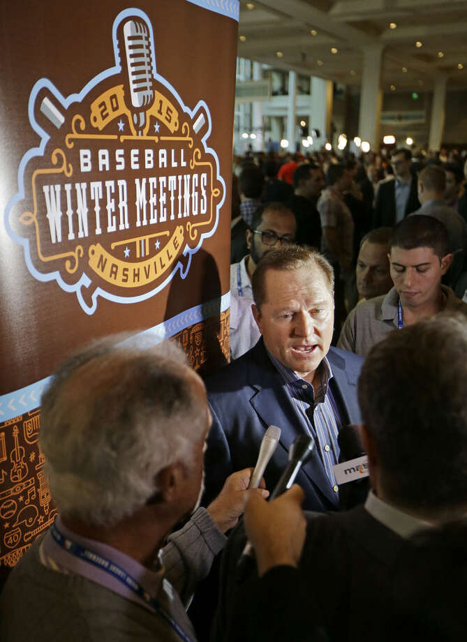 Sports agent Scott Boras talks with reporters at Major League Baseball's winter meetings Wednesday, Dec. 9, 2015, in Nashville, Tenn. (AP Photo/Mark Humphrey)