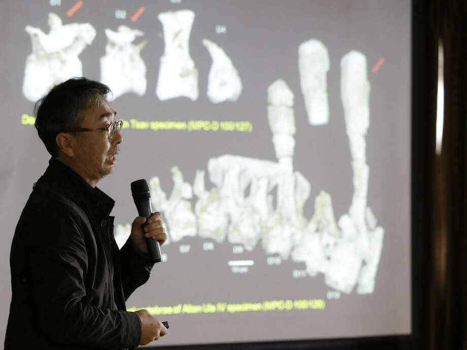 "In this photo taken Wednesday, Oct. 22, 2014, study lead author Lee Yuong-nam, director of the Geological Museum, speaks to the media about Deinocheirus mirificus during a news conference in Seoul, South Korea, Wednesday, Oct. 22, 2014. Nearly 50 years ago, scientists found bones of two large, powerful dinosaur arms in Mongolia and figured they had discovered a fearsome critter with killer claws. Now scientists have found the rest of the dinosaur and have new descriptions for it: goofy and weird. That's Deinocheirus mirificus, which means ""terrible hands that look peculiar."" It is newly reimagined after a full skeleton was found in Mongolia and described in a paper released Wednesday by the journal Nature. Some 70 million years old, it's an ancestral relative of the modern ostrich and belongs to the dinosaur family often called ostrich dinosaurs. (AP Photo/Lee Jin-man)"