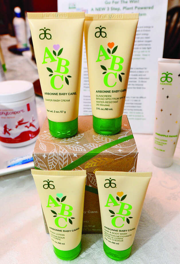 Hour photo / Erik Trautmann Weston resident Kristin Kreuder, an Arbonne Independent Consultant, is donating Arbonne beauty and skincare products, including Arbonne Baby Care gift sets, to Malta House in Norwalk for Christmas.