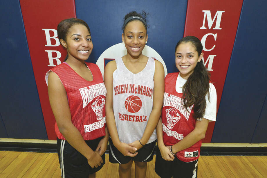 Hour Photo/Alex von KleydorffBrien McMahon girls basketball captains for 2015-16 are, from left, Jeteya Lawrence, Sahara Clarke and Vanessa Giraldo.