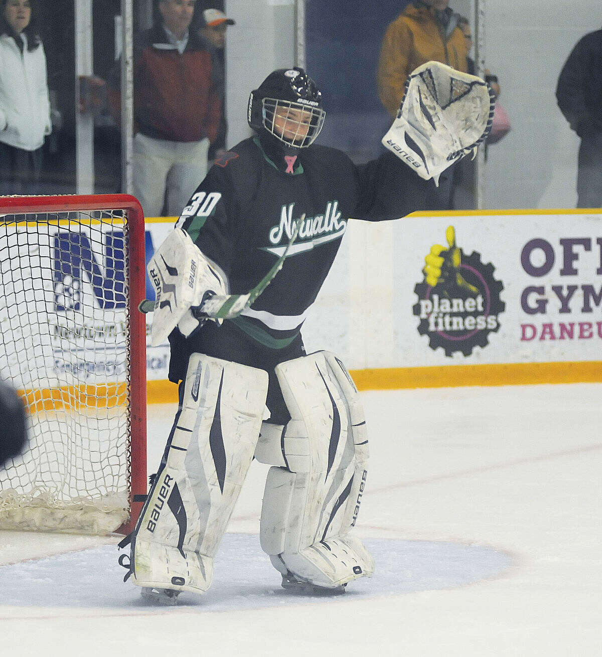 Hour photo/John Nash - Norwalk-McMahon goalie Philip Uva will backstop the co-op team for another season.
