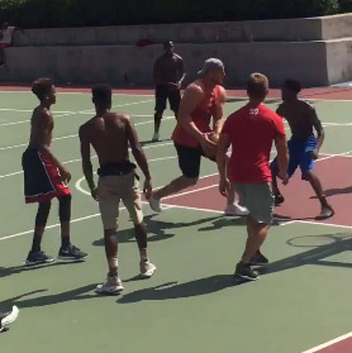 The Houston Texans' J.J. Watt showed up for some pickup basketball around town Saturday.