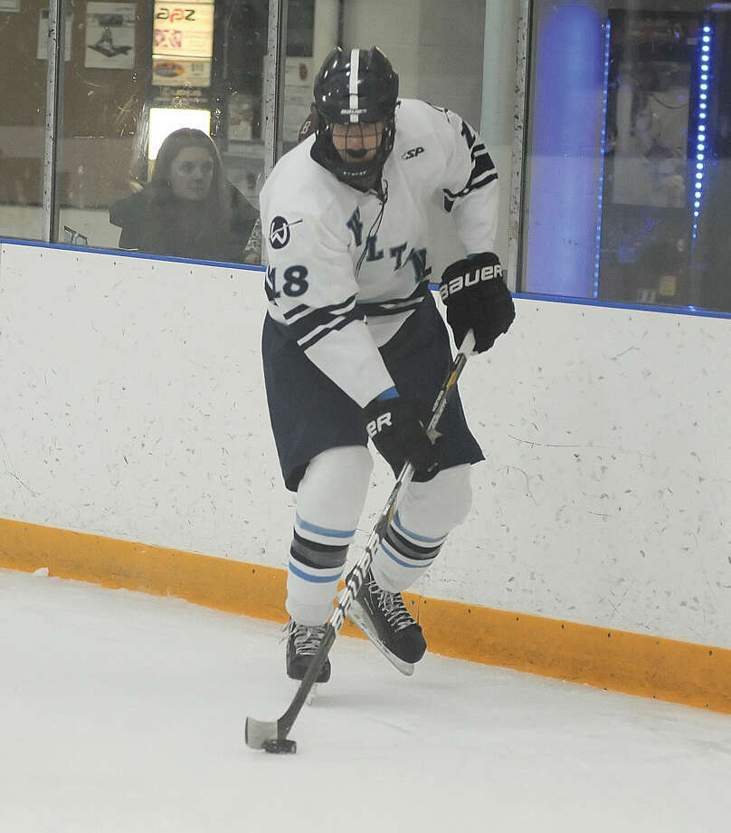 Hour photo/John Nash Wilton's Henry Hovland returns to captain the Wilton Warriors along with being one of their top defensemen.