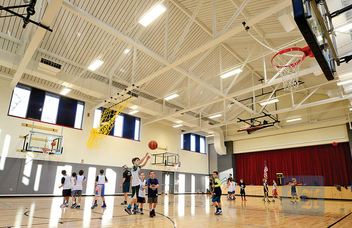 Hour photo / Erik Trautmann The Gymnasium in the new wing of Rowayton Elementary School which was completed recently.