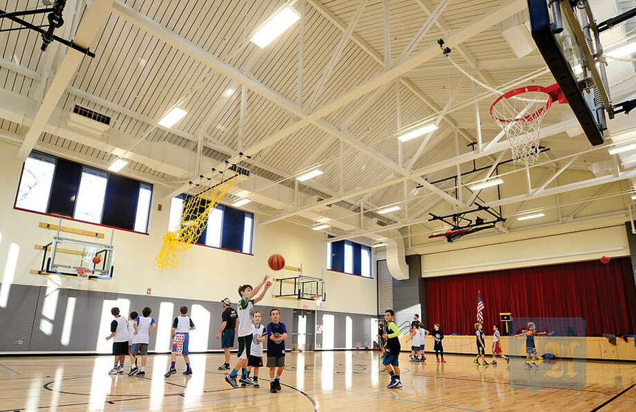 Hour photo / Erik Trautmann The Gymnasium in the new wing of Rowayton Elementary School .