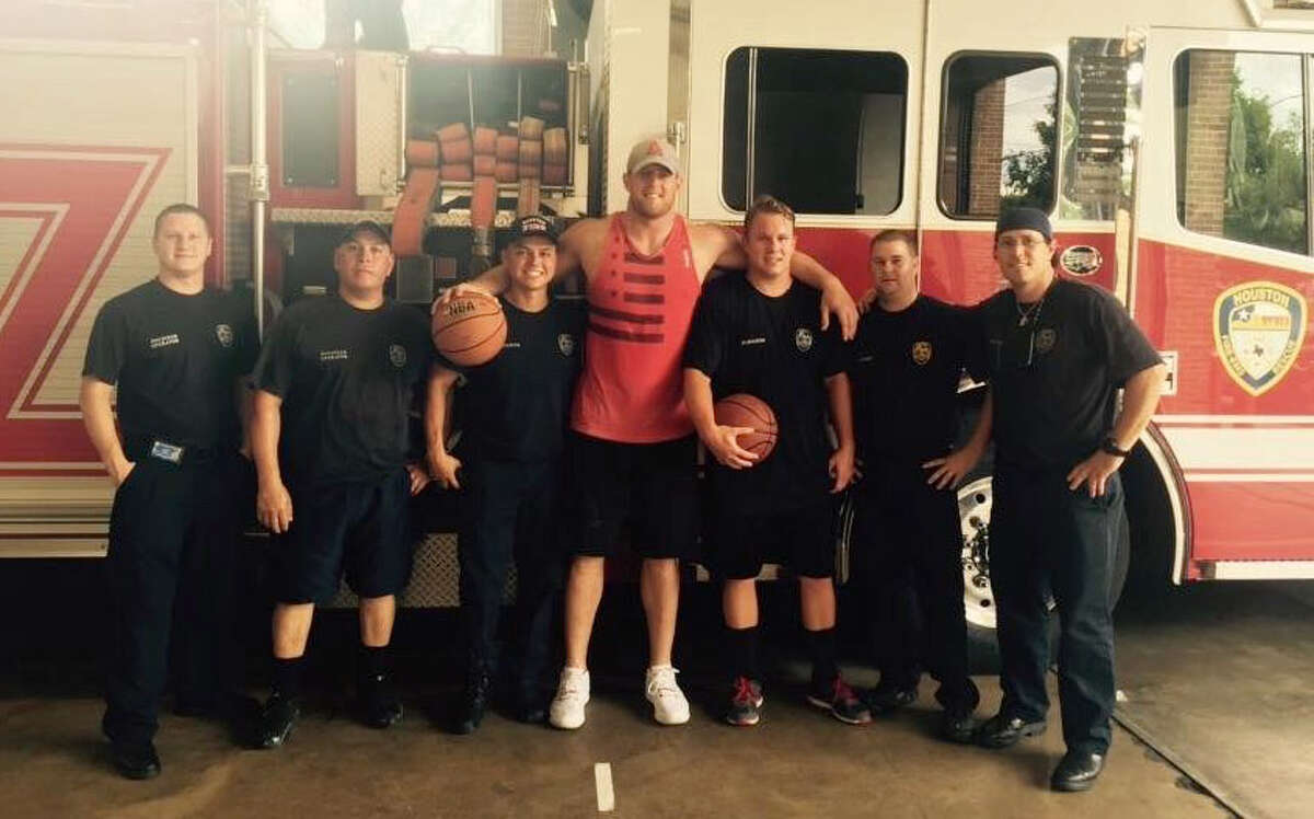 Houston Texans' star J.J. Watt showed up at Houston Fire Station No. 9 for some pickup basketball Saturday.
