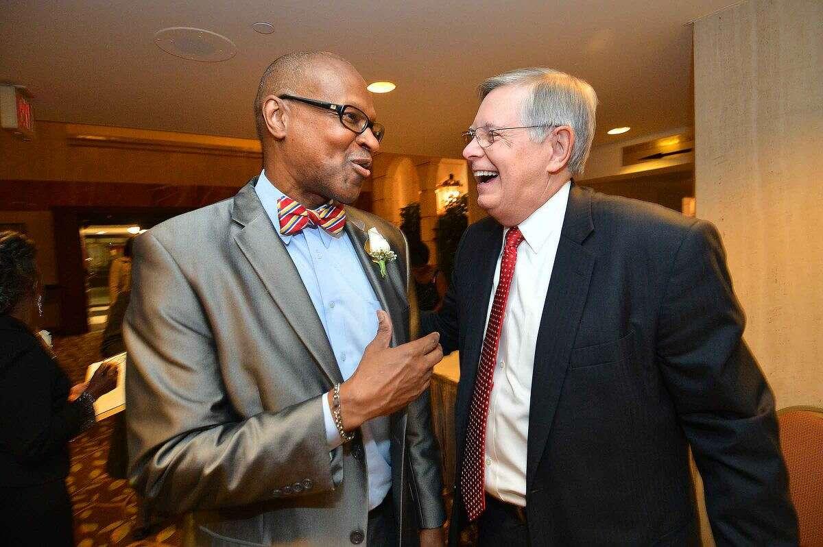 Hour Photo/Alex von Kleydorff Stamford NAACP President Jack Bryant talks with Mayor David Martin at the annual Freedom Fund Banquet in Stamford