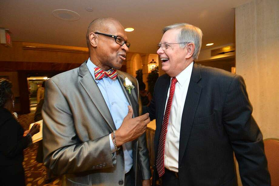 Hour Photo/Alex von Kleydorff Stamford NAACP President Jack Bryant talks with Mayor David Martin at the annual Freedom Fund Banquet in Stamford