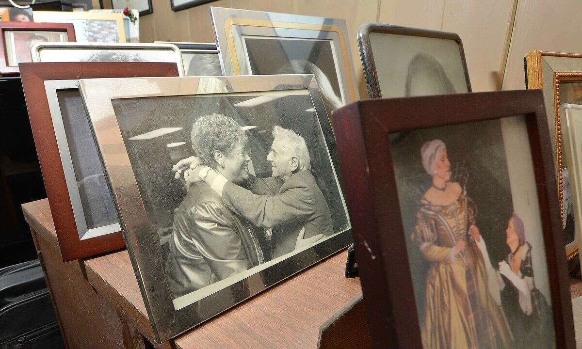 Framed photos of her career and family fill the house along with this one of her and composer, conductor and pianist Leonard Bernstein.