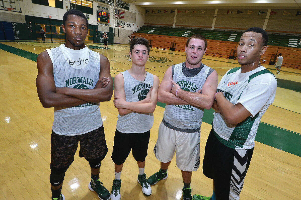 Hour photo/Alex von Kleydorff Norawlk High School basketball captains for the 2015-16 season include, from left, Jakari Gainer, Zach White, Eddie O'Hara, and A.J. Jerome.