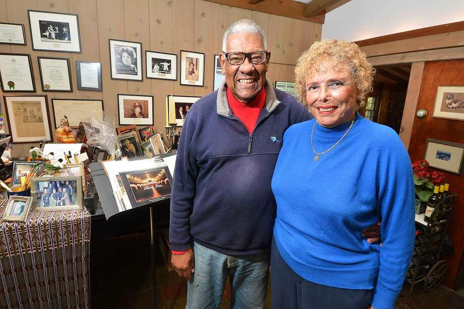 Doug and Betty Jones surrounded by memories of a life in opera.