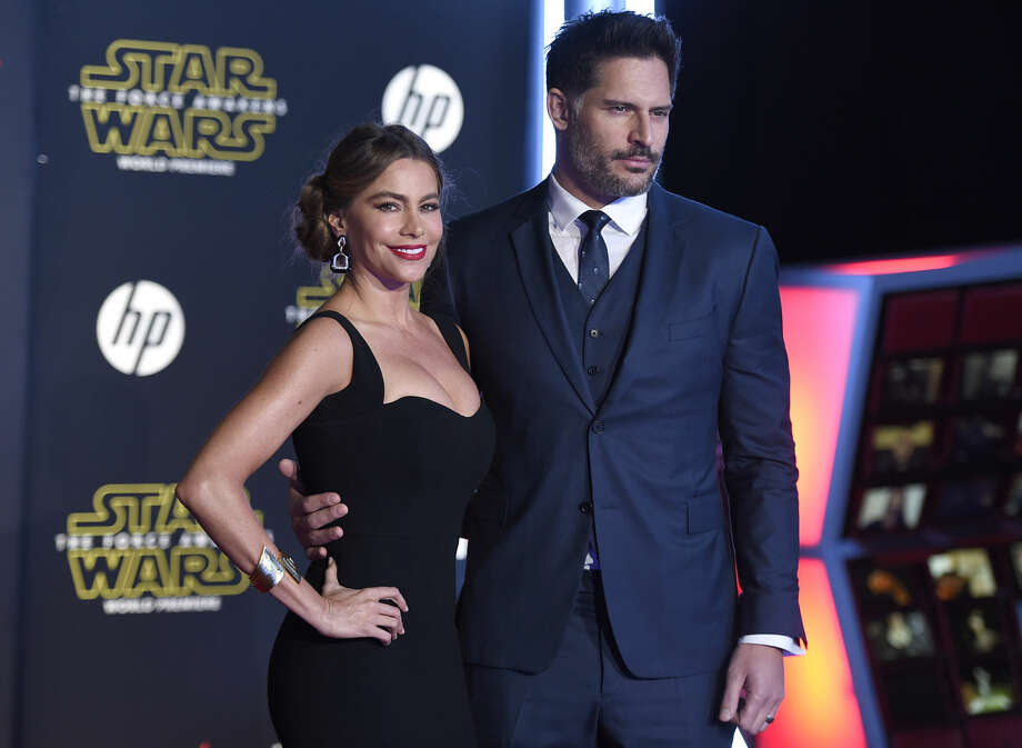 "Sofia Vergara, left, and Joe Manganiello arrive at the world premiere of ""Star Wars: The Force Awakens"" at the TCL Chinese Theatre on Monday, Dec. 14, 2015, in Los Angeles. (Photo by Jordan Strauss/Invision/AP)"