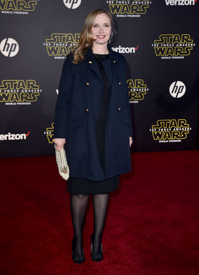 "Julie Delpy arrives at the world premiere of ""Star Wars: The Force Awakens"" at the TCL Chinese Theatre on Monday, Dec. 14, 2015, in Los Angeles. (Photo by Jordan Strauss/Invision/AP)"