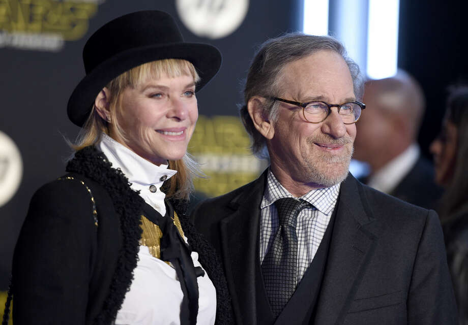 "Kate Capshaw, left, and Steven Spielberg arrive at the world premiere of ""Star Wars: The Force Awakens"" at the TCL Chinese Theatre on Monday, Dec. 14, 2015, in Los Angeles. (Photo by Jordan Strauss/Invision/AP)"