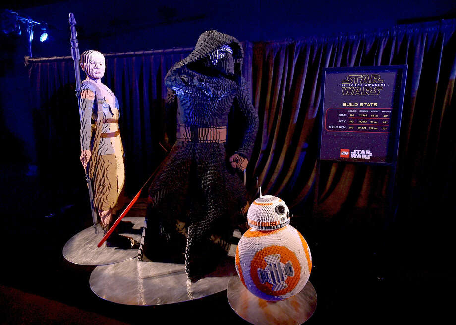 "A display of characters built from Legos appear on the red carpet at the world premiere of ""Star Wars: The Force Awakens"" at the TCL Chinese Theatre on Monday, Dec. 14, 2015 in Los Angeles. (Photo by Jordan Strauss/Invision/AP)"