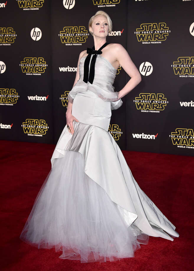 "Gwendoline Christie arrives at the world premiere of ""Star Wars: The Force Awakens"" at the TCL Chinese Theatre on Monday, Dec. 14, 2015, in Los Angeles. Christie plays the role of Captain Phasma in the film. (Photo by Jordan Strauss/Invision/AP)"