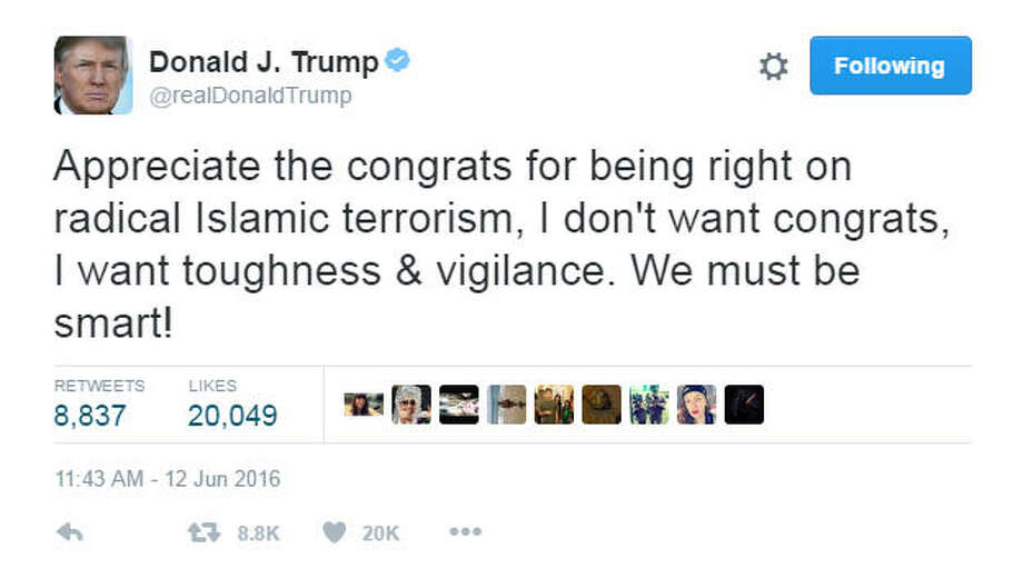 Donald Trump's tweet after more than 50 people died in what's being called the worst mass shooting in U.S. history.