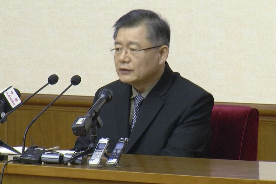 In this image made from July 30, 2015, video, Hyeon Soo Lim, who pastors the Light Korean Presbyterian Church in Toronto, speaks at a news conference in Pyongyang, North Korea. North Korea's Supreme Court on Wednesday, Dec. 16, 2015, sentenced a Canadian pastor to life in prison with hard labor on Wednesday for what it called crimes against the state. (AP Photo/APTN)