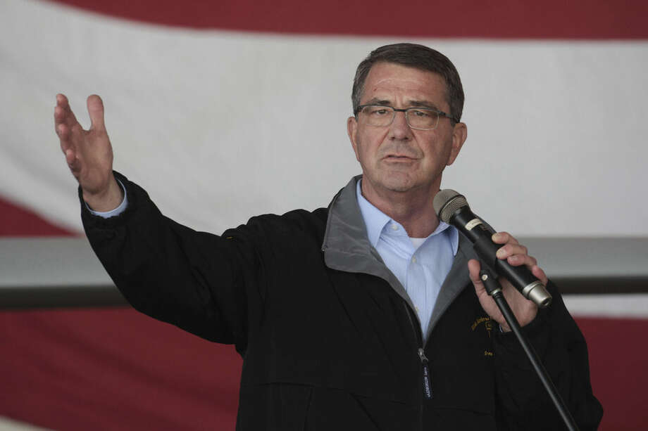FILE - In this Dec. 15, 2015, file photo, U. S. Defense Secretary Ash Carter addresses the U.S. troops at the Incirlik Air Base near Adana, Turkey. A news report published Wednesday, Dec. 16, said Carter used a personal email account to do some of his government business during his first months at the Pentagon. (AP Photo/File)