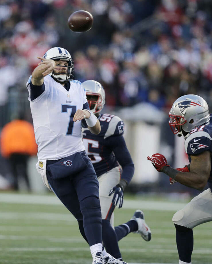 Tennessee Titans quarterback Zach Mettenberger (7) passes against the New England Patriots in the second half of an NFL football game, Sunday, Dec. 20, 2015, in Foxborough, Mass. (AP Photo/Charles Krupa)