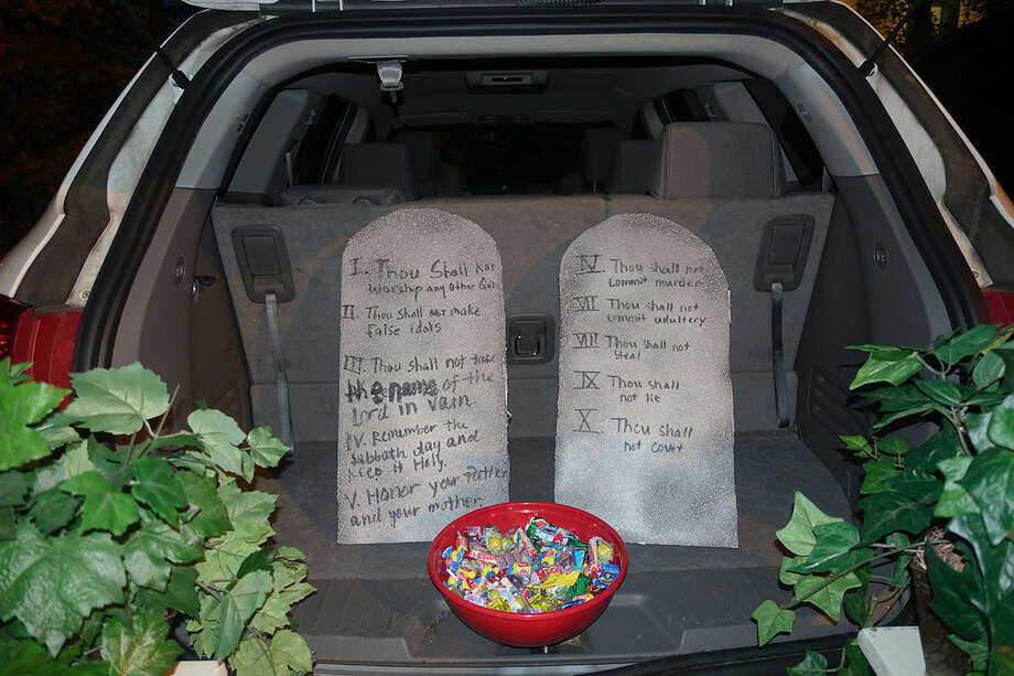 Hour photo/Korey Wilson The truck of Rev. Artie Kassimis' car with the Ten Commandments.