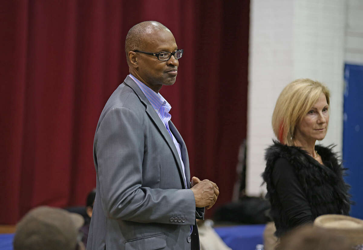 NAACP's Jack Bryant speaks in Stamford Thursday evening during a public community meeting in the Yerwood Center's gymnasium hosted by Yerwood Community Alliance, Inc. Boards of Directors . Hour Photo / Danielle Calloway