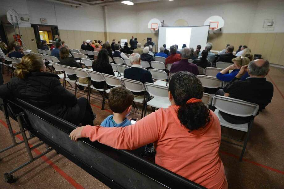 Community informational meeting about the plans for Miller-Driscoll School held in the gym Wednesday night.