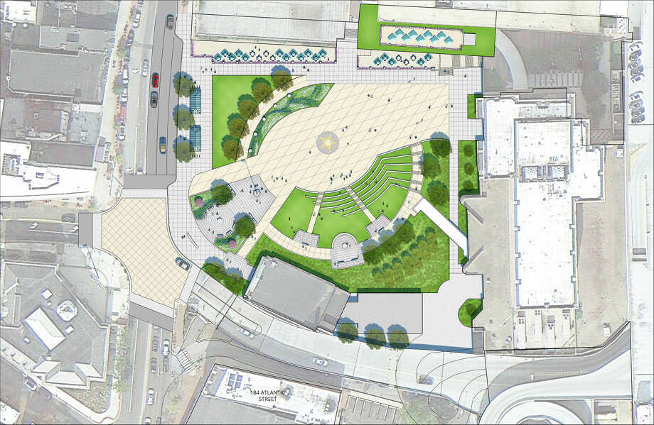 A rendering of proposed renovations to Veterans Park in downtown Stamford.