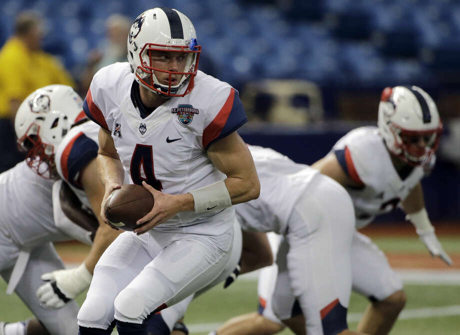 Connecticut quarterback Bryant Shirreffs before the St. Petersburg Bowl NCAA college football game against Marshall Saturday, Dec. 26, 2015, in St. Petersburg, Fla. (AP Photo/Chris O'Meara)