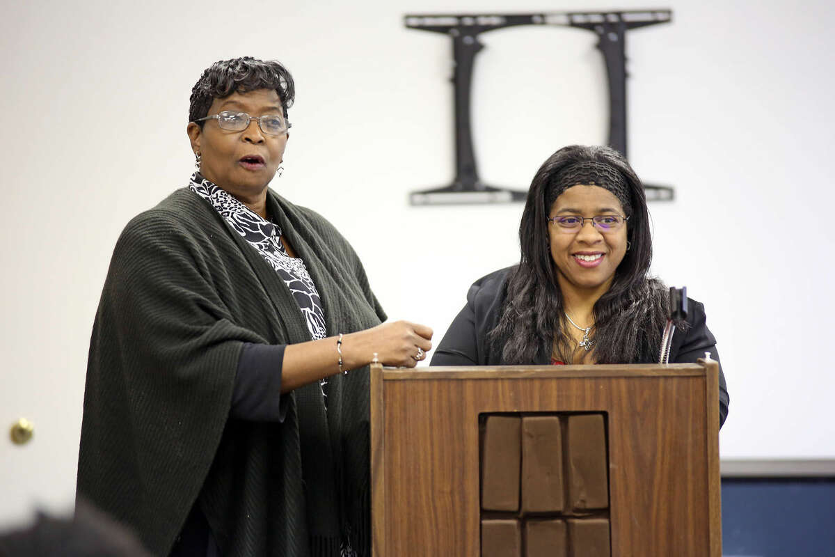 Rosa Murray and Shirley Mosby speak at the Delta Sigma Theta event about empowering women in the government at Bethel AME Church in Norwalk Saturday morning. Hour Photo / Danielle Calloway