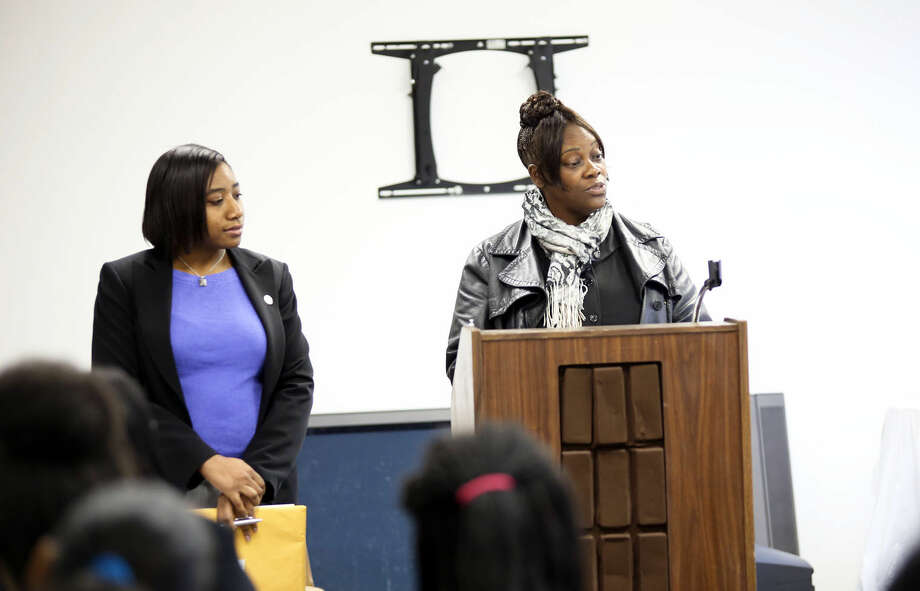 Faye Bowman and Sharon Stewart speak at the Delta Sigma Theta event about empowering women in the government at Bethel AME Church in Norwalk Saturday morning. Hour Photo / Danielle Calloway