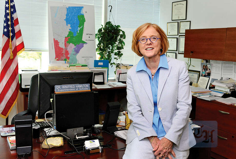 Hour photo / Erik Trautmann Stamford Superintendent of Schools Winifred Hamilton announced in May that she will step down at the end of this year. Her decision of retirement was related to the heated Stamford High scandal, in which the school system failed to report an English teacher's year-long sexual misconduct with a student.
