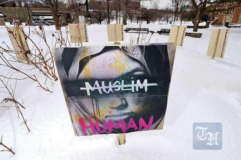 Hour photo / Erik Trautmann An art display was set up in Fera Park off West Ave in Norwalk marked with the hashtag, My Gallery is Outside.