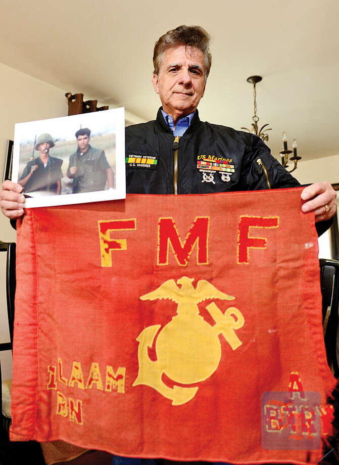 Hour photo / Erik Trautmann Norwalk resident John Rey was among the first U.S. Marines to land in Vietnam in February 1965. His unit landed by C-130 transport in Danang a month ahead of the publicized arrival of 9th Marine Division by landing craft.