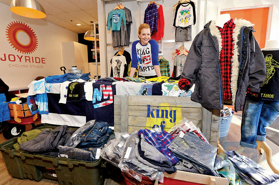 Hour photo / Erik Trautmann Westport resident Melissa Joan Hart hosts a trunk show at JoyRide Cycling Studio in Westport Wednesday to present her new line of boys' apparel, King of Harts.