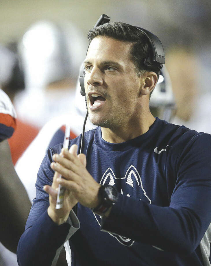 Connecticut head coach Bob Diaco shouts to his team in the first half during an NCAA college football game against BYU Friday, Oct. 2, 2015, in Provo, Utah. (AP Photo/Rick Bowmer)